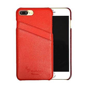For iPhone 8 PLUS, 7 PLUS Tilfelle, Mote håndlaget ekte skinndeksel, rød