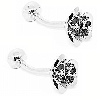 Rose flower stainless steel wedding men's cuff links