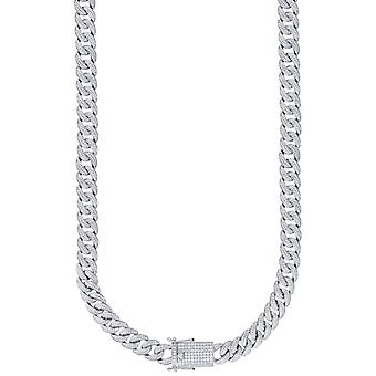 925 Sterling Silver Mens CZ Cubic Zirconia Simulated Diamond Miami Curb Chain 12mm 18 Inch Jewelry Gifts for Men