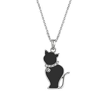 Eternal Collection Tabby Black Enamel Silver Tone Cat Pendant