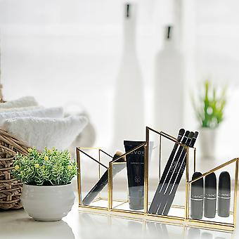 OnDisplay Skyline Deluxe Glass/Golden Steel Cosmetic/Desktop Pencil Cup - Täydellinen vanity, Kylpyhuone, Toimisto, tai Desktop - Classic Monipuolinen Järjestäjä