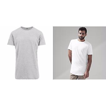 Build Your Brand Mens Shaped Long Short Sleeve T-Shirt