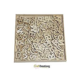 CraftEmotions Scatola ornamentale in legno - Alfabeto base grande 250 pcs - scatola 16,8 x 16,8 cm