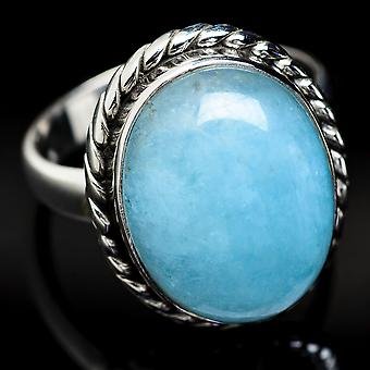 Natural Aquamarine Ring Size 8.5 (925 Sterling Silver)  - Handmade Boho Vintage Jewelry RING3667