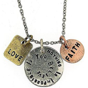 """""""Nothing Is Impossible If You Believe"""" Triple Charm Tag Pendant 16""""+3"""" FJ1130"""