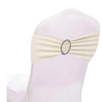 Ivory Plain Stretchable Spandex Chair Sashes With Round Diamante Buckles