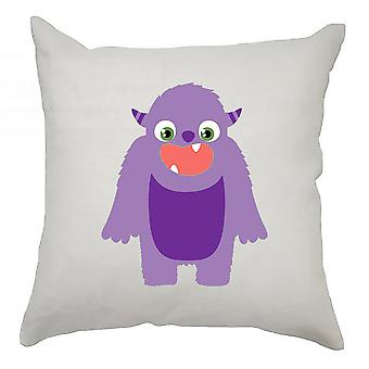 Monster Cushion Cover 40cm x 40cm - Purple Monster With Horns