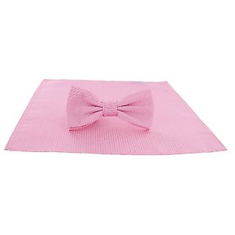 Michelsons of London Semi Plain Bow Tie and Pocket Square Set - Pink