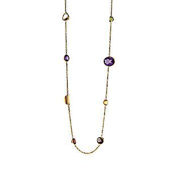14k gult gull multi farge steiner sitron kvarts citrine granat halskjede smykker gaver til kvinner - lengde: 18 til 34