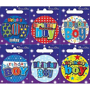 Simon Elvin divers anniversaire garçon petits insignes (Pack de 6)