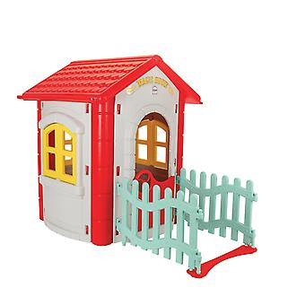 pilsan magic plastic playhouse with fence and red roof garden play outdoor
