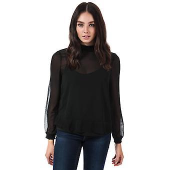 Frauen's Vero Moda Becca Langarm Chiffon Top in schwarz