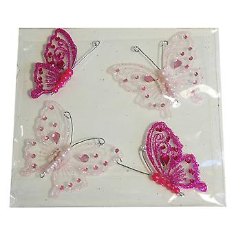4 Assorted Jewel Butterfly Embellishments for Craft