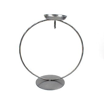 Silver Circular Metal Tealight Holder & Bauble Display Stand - 18cm