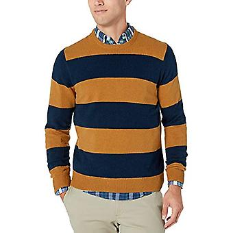 Essentials Men's Midweight Crewneck Sweater, Mustard/Navy, Large