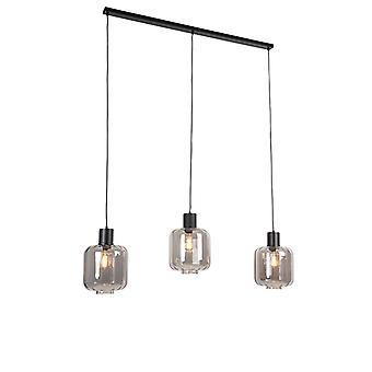 Lampada a sospensione QA-QA Design nera con vetro fumo 3 luci 161,5 cm - Qara