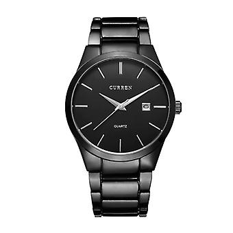 Curren Anologian Watch - Cuir Strap Luxury Quartz Movement for Men - Stainless Steel - Black - Copy