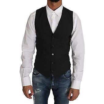 Dolce & Gabbana Black Wool Dress Gillet Waistcoat -- TSH2043312
