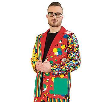 Partyclown Jacket Jacket T herenkostuum clown kleurrijke carnaval carnaval kostuum mannen circus