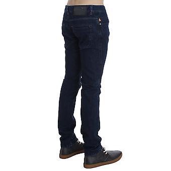 ACHT Azul Oscuro Algodón Delgado Delgado Fit Jeans SIG30486-1