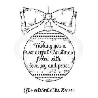 Woodware Selkeä Singles Postimerkit Big Bauble FRS705 Ihana joulu rakkaus rauha