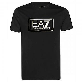 EA7 Emporio أرماني مربع احباط شعار تي شيرت أسود 6HPT51 PJM9Z