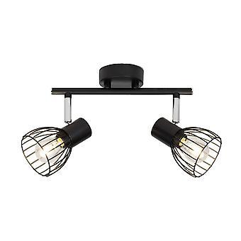 BRILLIANT Lampe Blacky Spot Tube 2flg Sort | 2x D45, E14, 40W, egnet til faldlygter (ikke inkluderet) | Skaler A++