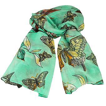 Ties Planet Butterfly & Birds Animal Print Mint Green Lightweight Women's Shawl Scarf