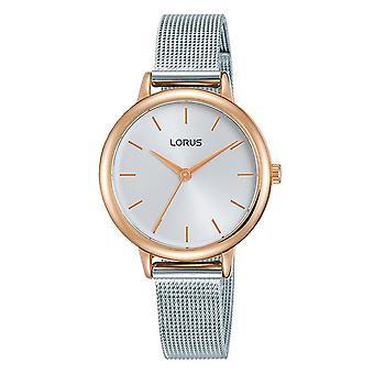 Lorus Damen zwei Ton Mesh Armband Uhr mit polierten Rose gold vergoldet Fall