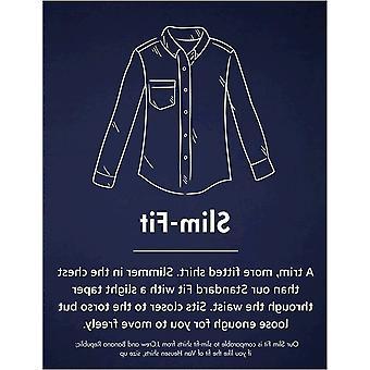 Goodthreads Men's Slim-Fit Long-Sleeve Printed Poplin Shirt, Navy Heather Leaf, Medium