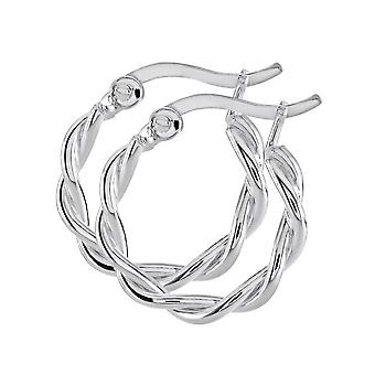 Dew Sterling Silver Twisted 16mm Hoop Earrings 66810HP027