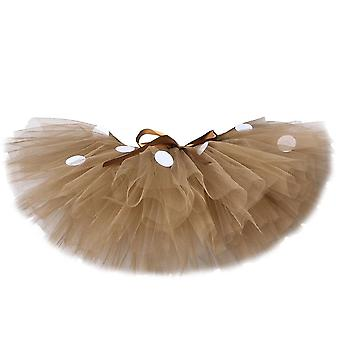 Fluffy Brown Deer Girl Tutu Skirt Christmas Costume Kids Reindeer Tulle For Halloween Carnival Children Outfit 1-14 Years