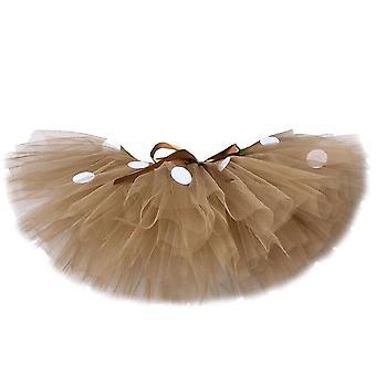 Fluffy Brown Deer Girl Tutu Fusta Costum de Craciun Copii Ren Tulle