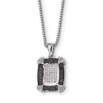 925 Sterling Silver Polished Prong set Spring Ring Black and White Diamond Pendant Necklace Jewelry Gifts for Women