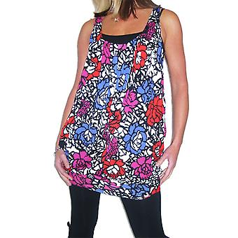 Women's Summer Stretch Floral Vest Ladies Loose Sleeveless Racerback Scoop Neck Tunic Tank Top Red Pink Purple 8-12