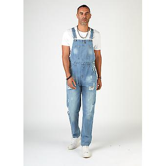 Bertie relaxed fit dungarees palewash with rips