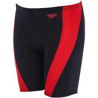 Speedo Lepa Junior Kids Swimming Jammer Swimshort Short Black/Red
