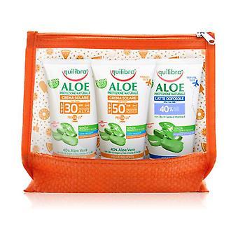 Travel Size Aloe Sun Cream Clutch Bag (Sun Cream SPF 30, Sun Cream SPF 50 and After Sun) 3 units of 75ml