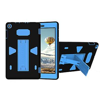 For Amazon Kindle Fire HD 8 2017 PC+Silicone Shockproof Protective Back Cover Case With Holder (Blue + Black)