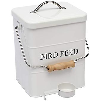 Morezi Bird seed and feed storage tin with lid Included - white-coated carbon steel
