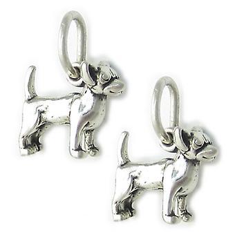 Confezione da 2 cani Chihuahua Piccoli ciondoli in argento sterling .925 Cane - 1978