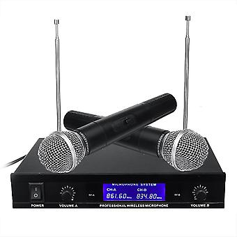 Professional Dual Handheld VHF Wireless Microphone System Cordless Karaoke Microphone Speaker with B