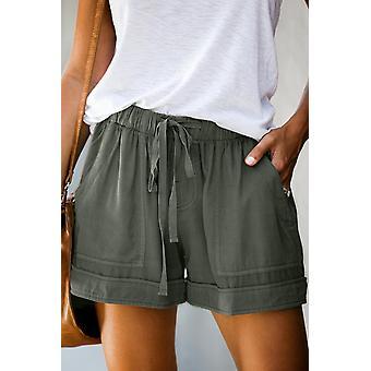 女性セージグリーン STRIVEポケットテンセルカジュアルショートパンツ