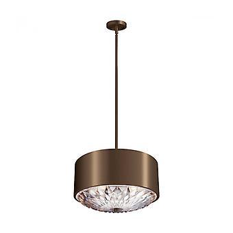 Lámpara Colgante Botánica, Latón Antiguo Oscuro, Vidrio Grabado