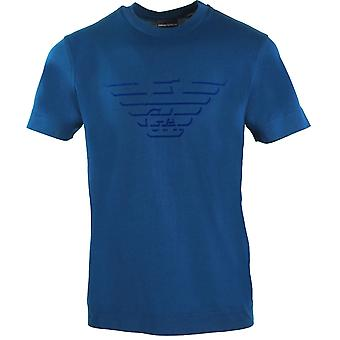 Emporio Armani Eagle Flock Logo Blue T-Shirt