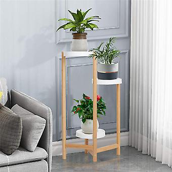 Indoor Corner Bamboo Plant Stand Round Planter Potted Holder End Table Display