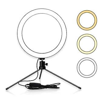 6inch Table LED Ring Light 3200-5600K 3 Colors 10 Levels Brightness Adjustable with Tripod Stand