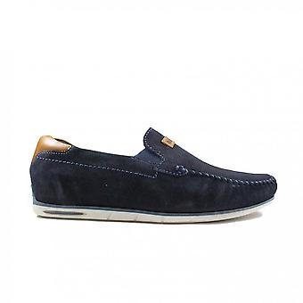 Bugatti 321-A2X63-4100 Navy Suede Leather Mens Slip On Shoes