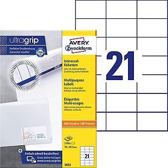Wokex 3652 Adressaufkleber (2.100 Klebeetiketten, 70x42,3mm auf A4, Papier matt, bedruckbare
