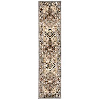 2' x 8' Gray and Beige Aztec Pattern Runner Rug